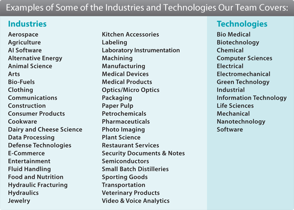 Examples of Some of the Industries and Technologies Our Team Covers